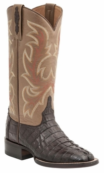 "Women's Lucchese ""Lexie"" Cafe Brown Hornback Caiman Tail & Calf Leather Boot M4946"