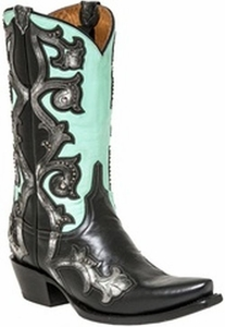 """*NEW* Lucchese Women's """"Eleanor"""" Black Studded Leather Boot M4964"""