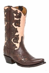 "*NEW* Lucchese Women's ""Eleanor"" Chocolate Studded Leather Boot M4963"