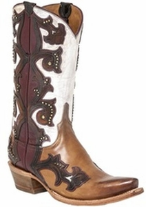 """*NEW* Lucchese Women's """"Eleanor"""" Studded Beige Leather Boot M4962"""