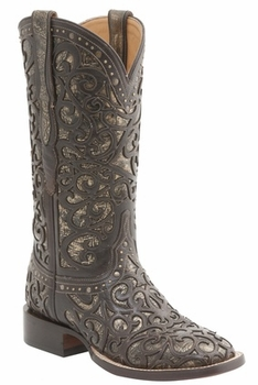 """*NEW* Lucchese Women's """"Sierra"""" Espresso and Bronze Calf Leather Horseman Boot M4843"""