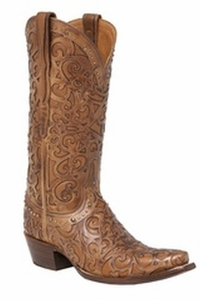 """*NEW* Lucchese Women's """"Sierra"""" Tan Cowhide Leather Boot M4959"""