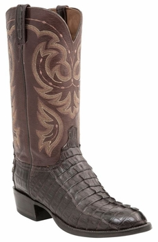 *NEW* Men's Lucchese Heritage Crockett Hornback Caiman Tail Boot - Espresso Waxy H1005