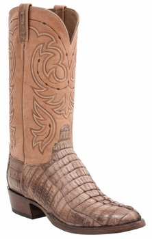 *NEW* Men's Lucchese Heritage Crockett Hornback Caiman Tail Boot - Tan Waxy H1004