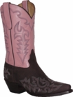 """Star Boots Brown Crazy Horse/Pink Shaft with Fancy Stitching 11"""" W7031"""