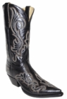 "Star Boots for Men 13"" Black Manchester Leather With Fancy Stitching Cowboy Boots M7028"