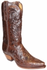 "Star Boots for Men 13"" Hand Tooled Chocolate Sunflower Cowboy Boots M7050"