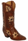"Star Boots for Men 13"" Hand Tooled Natural Sunflower Cowboy Boots M7051"