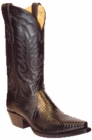 Star Boots for Men Black Lizard Leather Boots M9202