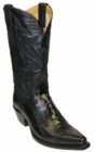 Star Boots for Men Black Ostrich Leg Leather Boots M9230