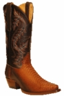 Star Boots for Men Medium Brown Back Cut Python Leather Boots M9221