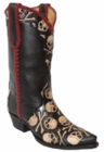 Star Boots for Women Black Leather Hand Tooled Skull & Crossbones Triad Boots W7060