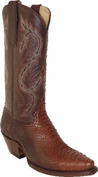 Star Boots For Women Medium Brown Back Cut Python Vamp Boots With Brown Oily Nappa Shaft W9221B