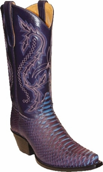 Star Boots for Women Blue Back Cut Python Snake Boots W9226