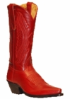 Star Boots for Women Red Oily Nappa Leather Cowboy Boots W7009