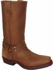 """Star Boots Tan Crazy Horse Harness Boots 11"""" W8502"""