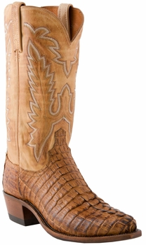 """Store Special Size 11 Lucchese 1883 Mens Tan Burnished Hornback Caiman Tail Cowboy Boots N1128<Font color=""""Red""""> EE</Font>"""