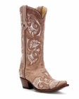 "Store Special Size 5.5 Corral Boots Ladies Bone Floral Full Stitch Boots G1086<Font color=""Red""> B</Font>"