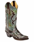 "Store Special Size 5.5 Corral Boots Ladies Distressed Turquoise & Chocolate Overlay Cowgirl Boots R1178<Font color=""Red""> B</Font>"