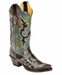 Store Special Size 5.5 Corral Boots Ladies Distressed Turquoise & Chocolate Overlay Cowgirl Boots R1178