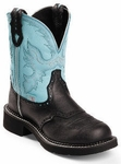 Store Special Size 5.5 Justin Boots Ladies Gypsy Collection Black Deer Cow Cowgirl Boots L9905