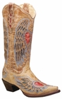 "Store Special Size 5.5 Ladies Corral Boots Antique Saddle Blue Jean Wing And Heart A1976<Font color=""Red""> B</Font>"