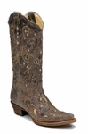 Store Special Size 5.5 Ladies Corral Boots Brown Crater Bone Inlay and Studs A1098