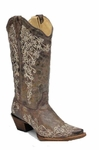 Store Special Size 5.5 Ladies Corral Boots Crater Bone Embroidery A1094