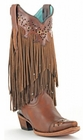 "Store Special Size 5.5 Ladies Corral Fringe Sierra Tan Boots C1185<Font color=""Red""> B</Font>"