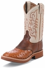 Tony Lama Boots Mens Cowboy Crepe Collection Peanut Brittle Ostrich Crepe Sole Boots 8880
