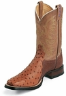 Tony Lama Boots Mens Exotic USTRC Stockman Peanut Brittle Full Quill Ostrich Boots 8997