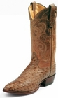 Tony Lama Boots Mens Exotic Western Cowboy Antique Tan Full Quill Ostrich Boots 8964