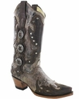 Women Corral Tobacco/Brown Concho Studs Boots R1050