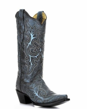 Women's Corral Black-Grey/Turquoise Embroidery Boot A2792