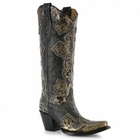Women's Corral Black Metallic Gold Cross Patch & Studs Boots A2859
