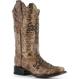 Women's Corral Bronze Cross Embroidered Western Boots R1288