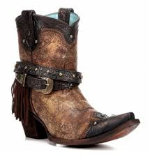 Women's Corral Bronze Fringe Studded Ankle Boot - C2880