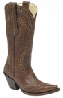 Women's Corral Brown Cord Stitch & Studs Boot G1130