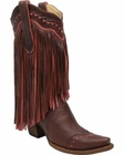 Women's Corral Brown & Pink Fringe Boots A2952