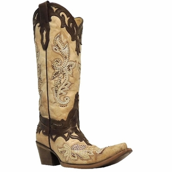 Women's Corral Crackle Bone with Tan Studs & Crystals Spur Guard Boots C2825