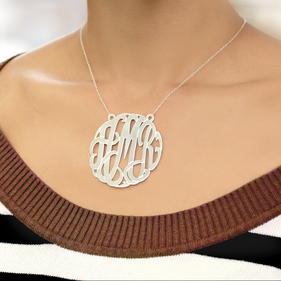 2 inch Traditional Silver Monogram Necklace