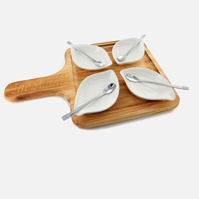 Personalized 9 Pc Petals Server Set W/Wood Base & Spoons