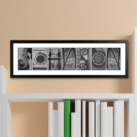 Personalized Architectural Elements II Black and White Name Prints