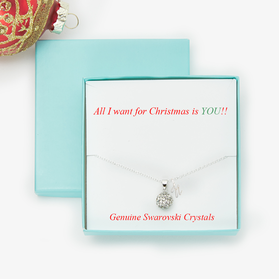 Ball Crystal Necklace With Initial and Gift Boxed