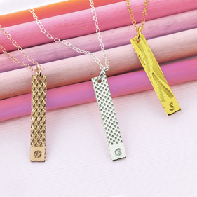 Bar Necklace Personalized with Single Initial - Four Styles