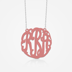 Sterling Silver Colored Monogram Necklace