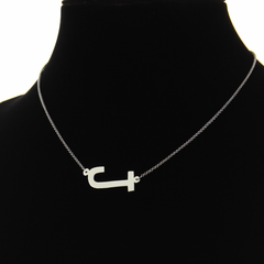 Block Style Laying Initial Necklace