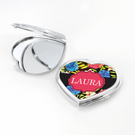 Blue Roses Heart Shaped Personalized Compact Mirror