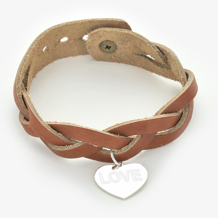 Braided Leather Bracelet with Custom Silver Heart Charm