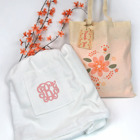 Monogram Terry Wrap With Thank You Gift Tote Bag